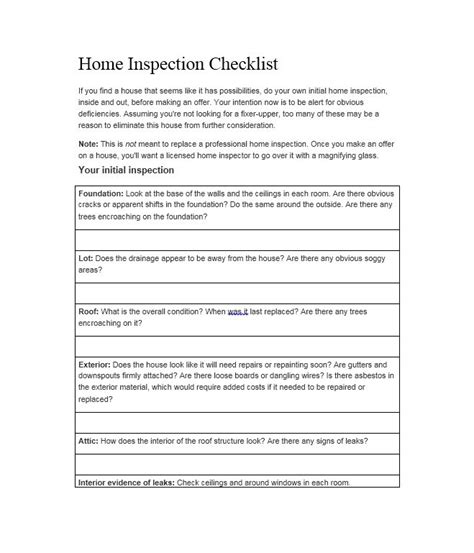 printable home inspection checklist template business