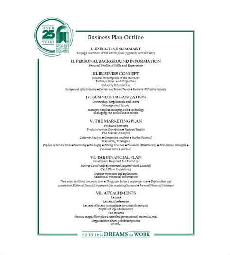 business plan outline template 22 free sle exle