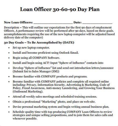 30 day business plan template 30 60 90 day plan template 8 free documents in pdf