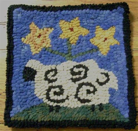 wool hook rug kits beginner sheep with posies rug hooking kit hook cut wool str