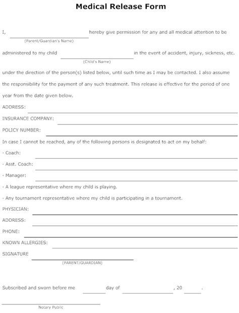 free medical form medical release form for minor inside