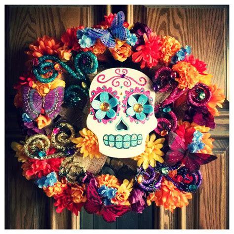 Pdf Flowers Dia De Los Muertos by Dia De Los Muertos Wreath Made With Burlap Butterflies