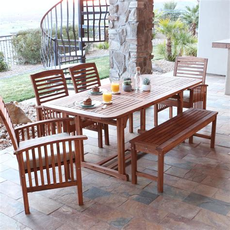 Patio Dining Sets For 6 Walker Edison Furniture Company Boardwalk Brown 6 Acacia Wood Outdoor Dining Set With