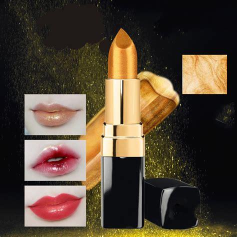 Lipstik Golden mermaid golden lipstick shimmer gold metallic lip blam lasting eyeshadow ebay