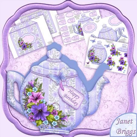Decoupage Shapes - teapot shape card petunias decoupage card kit