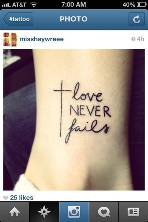 Tattoo Cross Fails | love never fails tattoo ideas pinterest love this