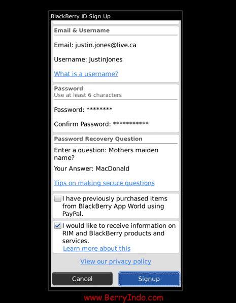 format email blackberry id cara mudah buat id di appworld bb iyan dan itink blog