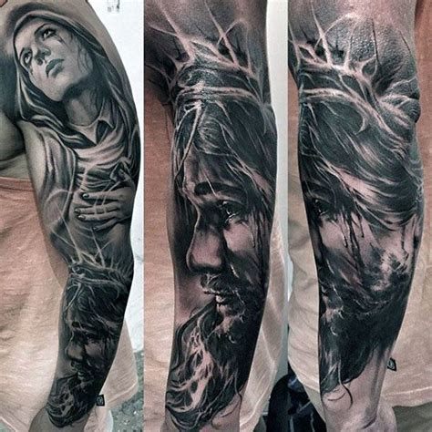 jesus tattoo using arm masculine guys full arm jesus sleeve tattoo tattoo ideas