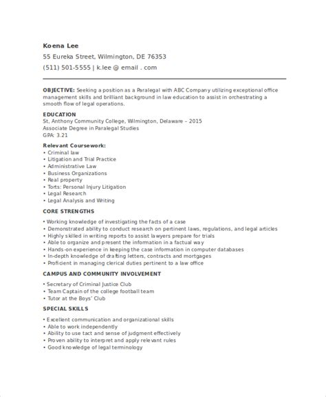 Paralegal Resume Template by Paralegal Resume Template 7 Free Word Pdf Documents