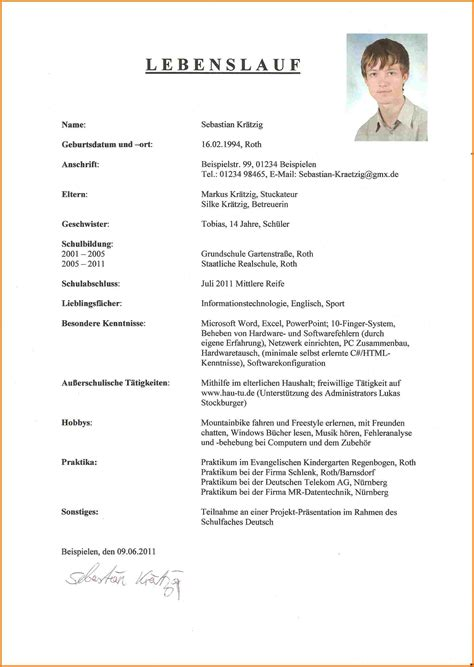 7 lebenslauf muster praktikum sch 252 ler resignation format