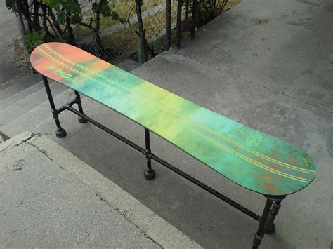 snowboard bench with awesome industrial plumbing by