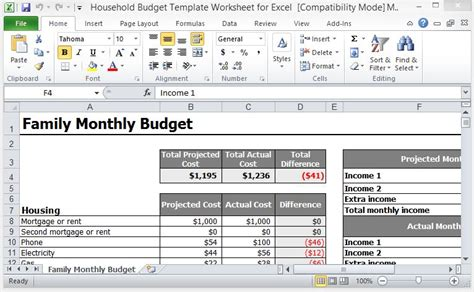 Monthly Household Budget Template Free