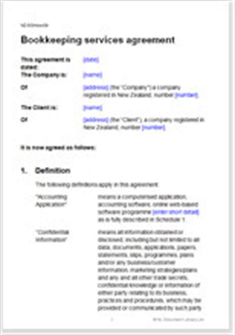 bookkeeping agreement template bookkeeping services agreement