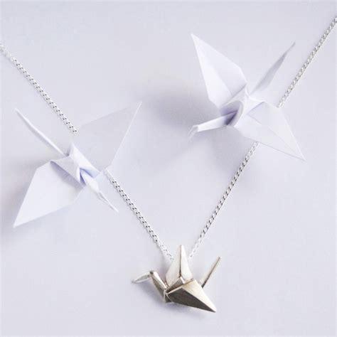 Origami Crane Necklace - sterling silver origami crane pendant