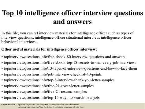 Intelligence Officer Cover Letter by Top 10 Intelligence Officer Questions And Answers