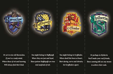 harry potter bookmarks the four houses of hogwarts from