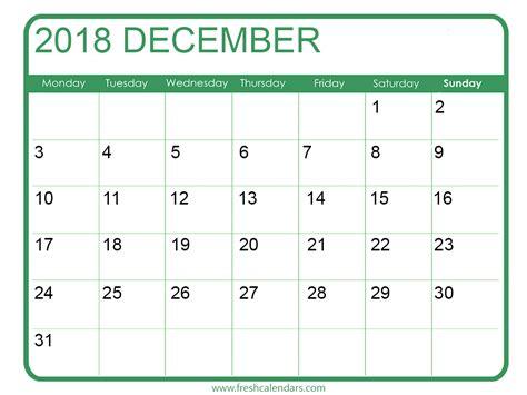Dec Calendar Template