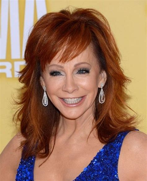 should women over 50 wear bangs 2013 reba mcentire trendy shaggy medium hairstyles for