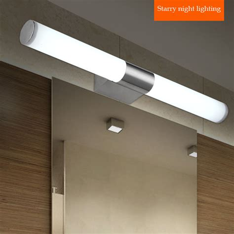 contemporary stainless steel lights bathroom led mirror