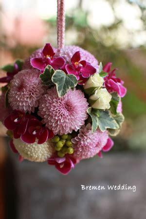 floraldesign bremen ピンポンマムのボールブーケ 和装 生花ブーケ ブレーメンウェディング