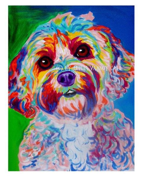 colorful dogs cockapoo pet portrait dawgart pet portrait artist colorful pet portrait