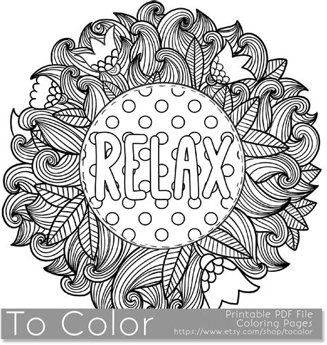 relax color mandalas coloring book for adults relaxation stress relief coloring books books printable relax coloring page for adults pdf jpg instant