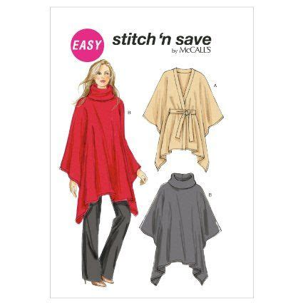 fabric pattern poncho mccall patterns m65860a0 misses ponchos sewing pattern