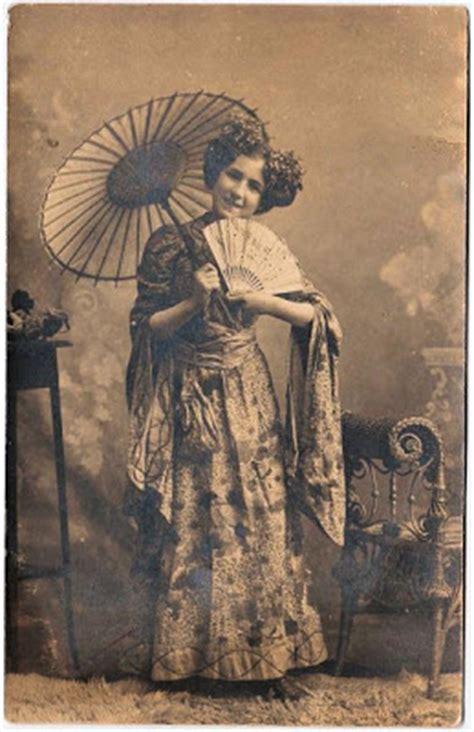 victorian postcard lady wearing kimono  graphics fairy