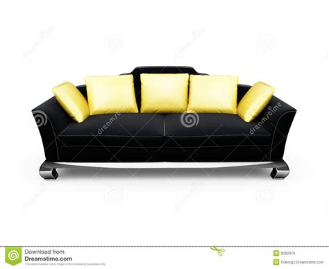 black couch with pillows black couch with gold pillows over white royalty free