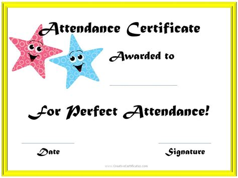 8 best images of perfect attendance certificate printable