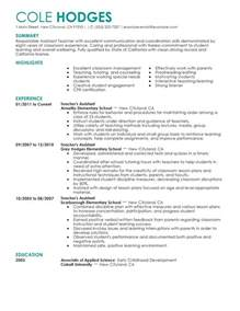 resume exles special education aide license big assistant teacher exle contemporary 4 design