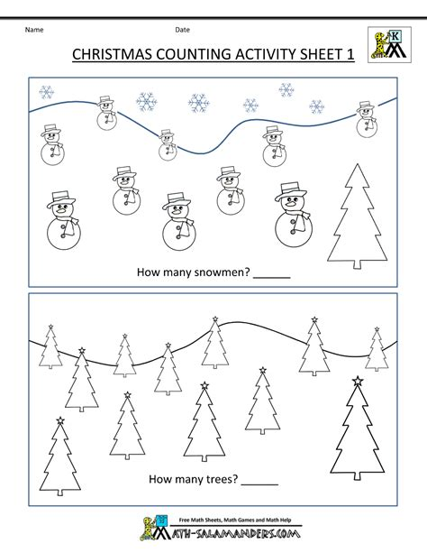 Kindergarten christmas math worksheets new calendar template site