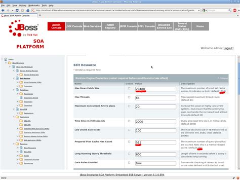 jboss admin console soa 2592 strange value for quot max rows fetch size quot in data