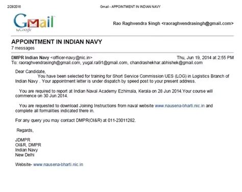navy iao appointment letter indian naval academy is there anyone who is joining ina