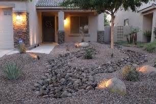 Front Yard Rock Garden Low Maintenance Front Yard Landscaping Front Yard Desert Landscape Design With Rock River Bed