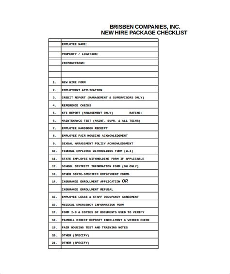 checklist new employee orientation template sample form new