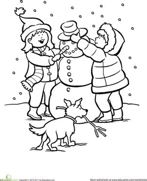 snowy day worksheet education com