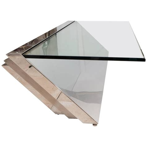 Cantilever Coffee Table Cantilevered Stainless Steel Coffee Table By J Wade Beam For Brueton At 1stdibs