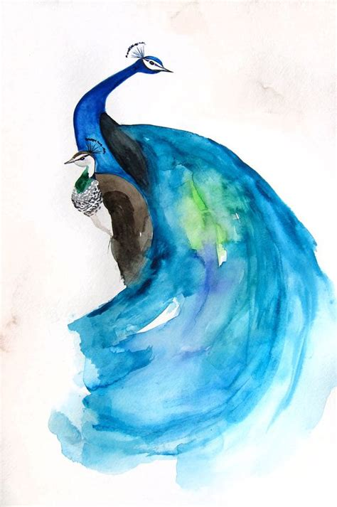 original watercolor painting peacock painting peacock reserved final payment peacock peahen painting