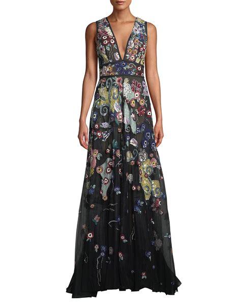 V Neck Sleeveless Evening Gown zuhair murad sleeveless v neck beaded embroidered a line