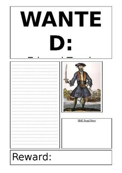 blackbeard the pirate wanted poster template editable tpt