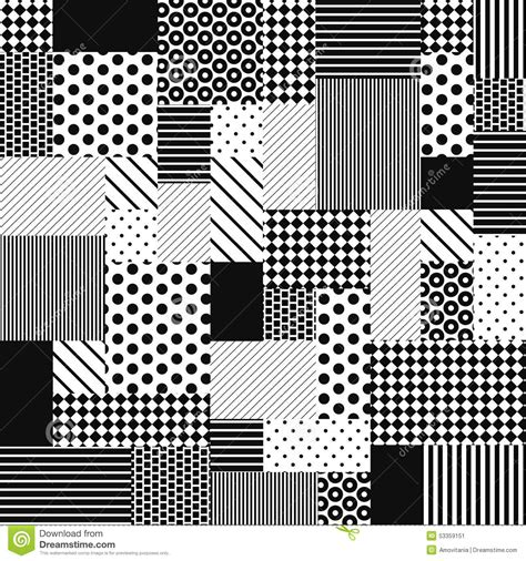 black and white line pattern design abstract black and white patchwork stock vector image