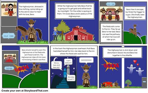 printable version of the highwayman the highwayman storyboard by mrsswanson