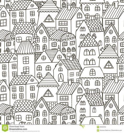 seamless pattern houses doodle houses seamless pattern black and white city