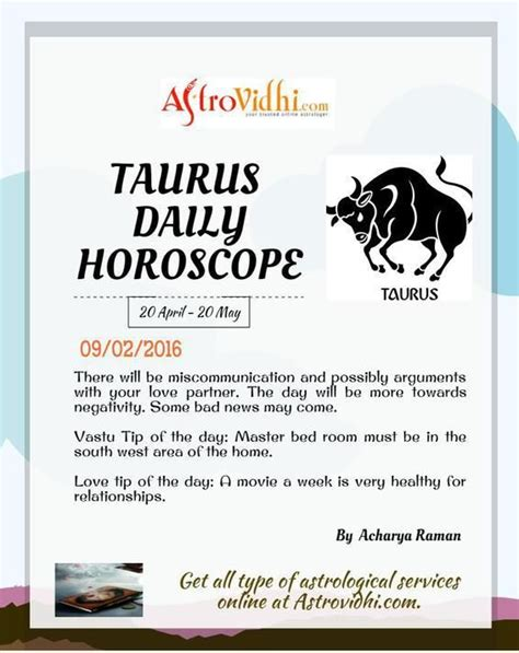 Taurus Daily Horoscope Astrology Free Online Indian | get your taurus daily horoscope 09 02 2016 read your