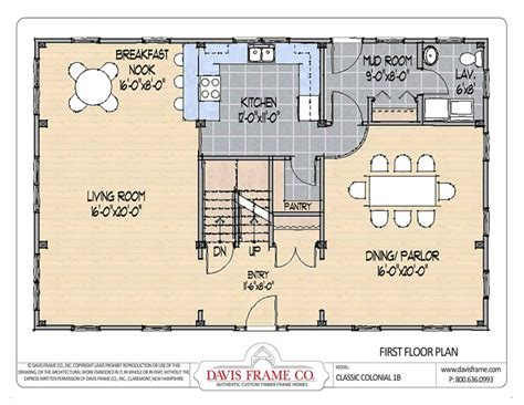 classic colonial floor plans barn house plans classic colonial layout 1b davis frame