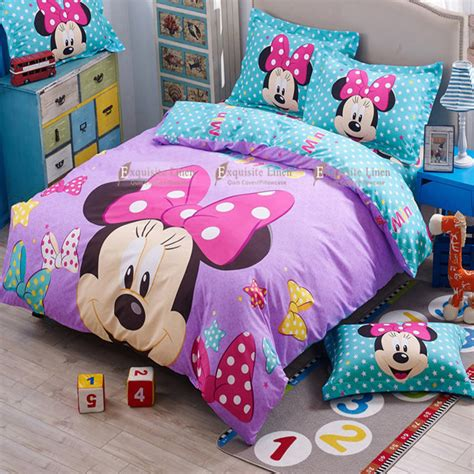 Aliexpress Com Buy Kids Mickey Minnie Mouse Present Minnie And Mickey Mouse Bed Set