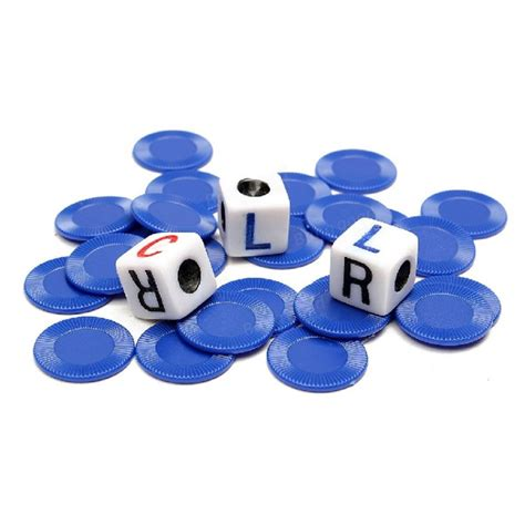 st on right or left lcr left center right dice game w storage blue tin