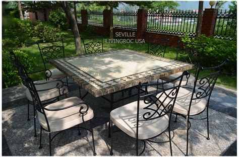Outdoor Patio Table Tops 140x140 Mosaic Garden Table Outdoor Patio Square Marble Dining Tops Seville