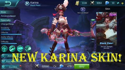 codashop mobile legends starlight member mobile legends new karina skin black pearl
